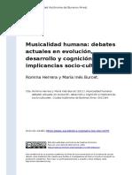 Romina Herrera y Maria Ines Burcet (2011). Musicalidad Humana Debates Actuales en Evolucion, Desarrollo y Cognicion e Implicancias Socio- (..)