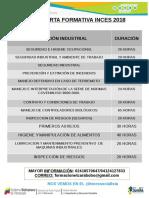 Opciones Formativas Inces 2018