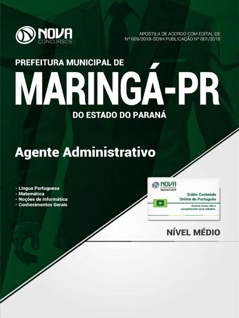 ddf4953dc6566 Prefeitura de Maring - Pr - Agente Administrativo