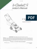 Cub Cadet Lawnmower Operators Manual Models 977A E977C
