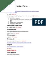 Roteiro - Porto - 1 Mês