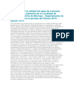 Evaluación de La Calidad Del Agua de Consumo Humano en La Población de La Localidad de Mórrope