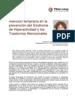 Atencion Temprana en La Prevencion Del Sindrome de Hiperactividad y Los Trastornos Atencionales