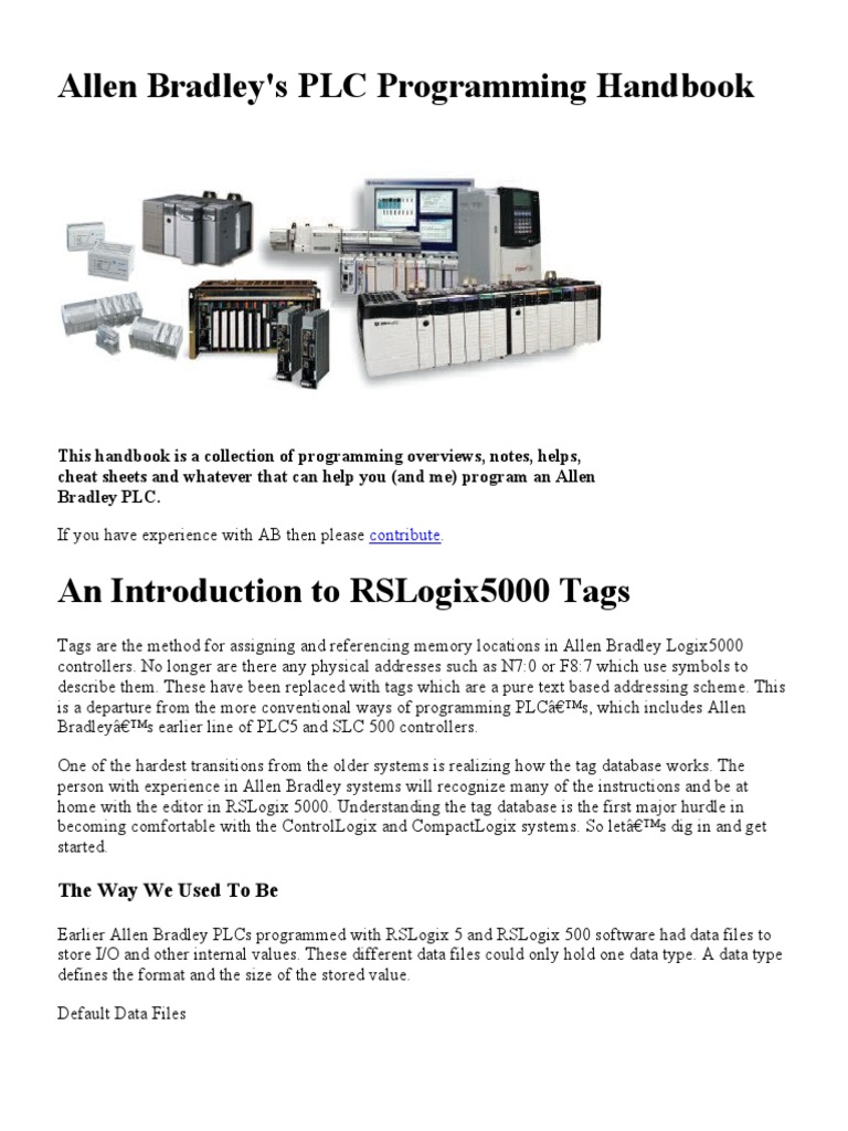 Allen Bradley's PLC Programming Handbook pdf | Emulator | Data Type