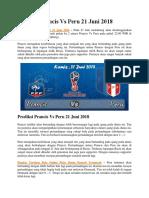 Prediksi Prancis vs Peru 21 Juni 2018