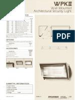 Sylvania WPK II Wall Architectural Security Light Spec Sheet 5-80