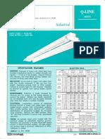 Sylvania Q-Line Industrial Reflector Fluorescent Spec Sheet