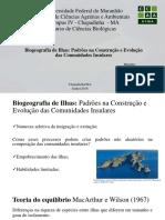 Biogeografia - Construção de comunidades insulares.