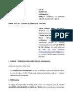 Demanda de Redonocimiento judicial de Union de Hecho