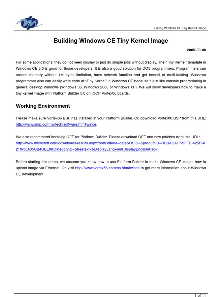 Building Windows CE Tiny Kernel Image | File Transfer Protocol