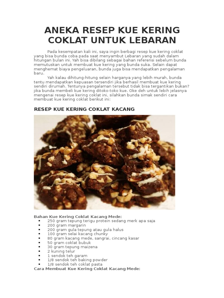 Aneka Resep Kue Kering Coklat Untuk Lebarandocx