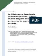 La Musica Como Experiencia de Intersubjetividad.