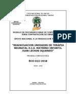 """d.b.c. """"Readecuacion Unidades de Terapia Neonatal h.i.s. Materno Infantil Juan Lechin Oquendo"""""""
