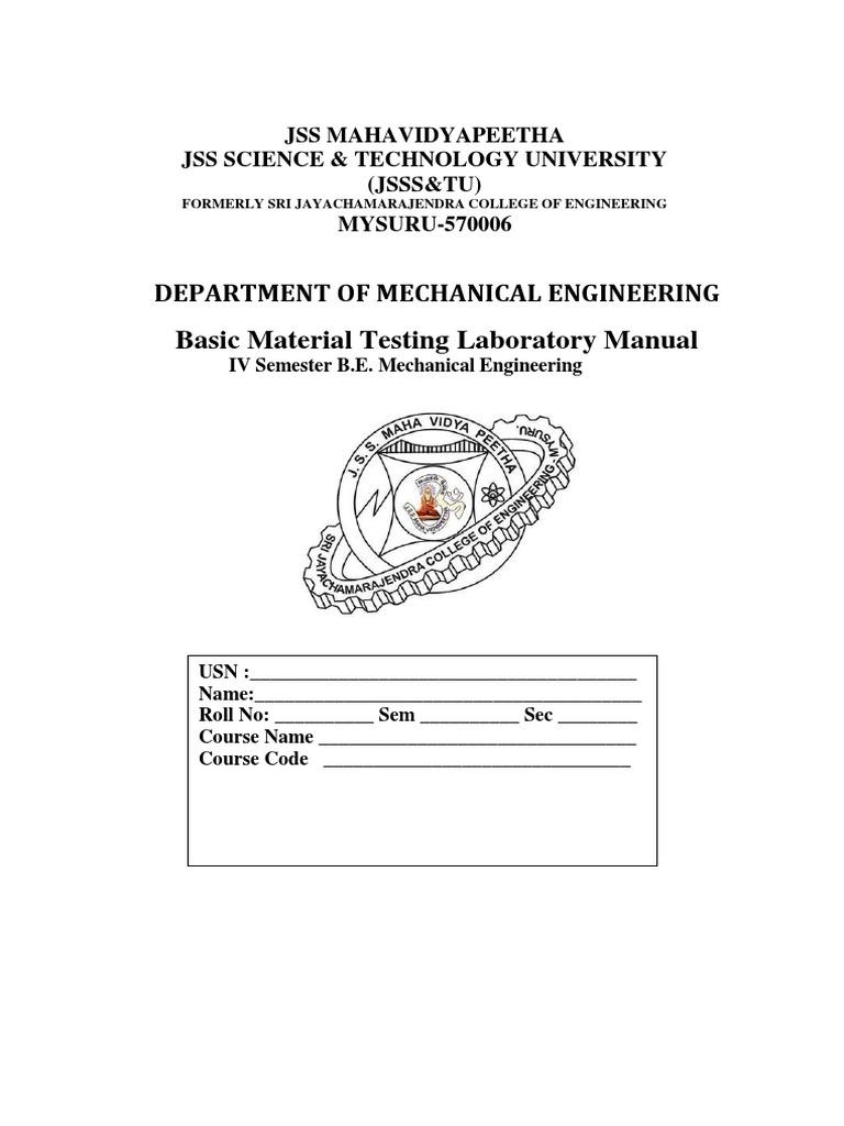 Basic Material Testing Laboratory Manual | Deformation (Engineering) |  Ultimate Tensile Strength