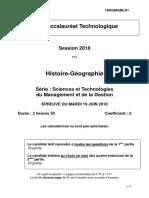 Bac Stmg 2018 Histoire Geo Sujet