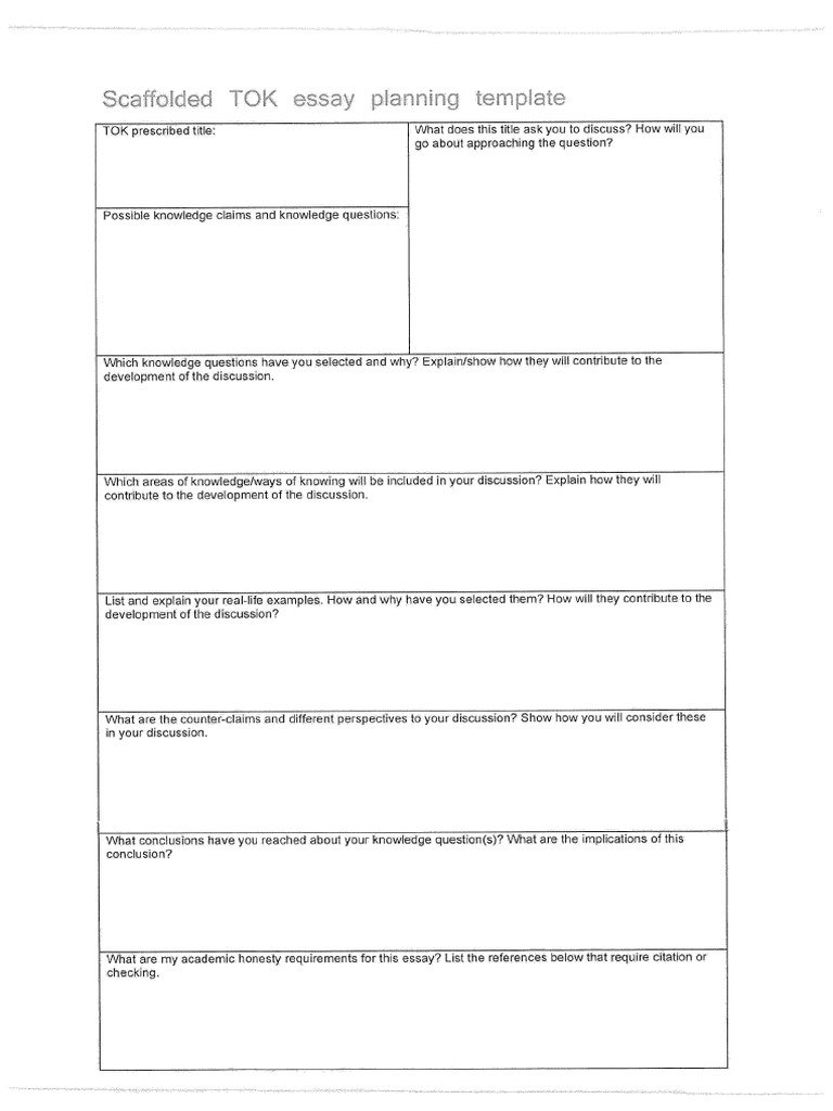 Tok Essay Scaffold Planning Document  Apa Sample Essay Paper also Photosynthesis Essay  Critical Essay Thesis Statement