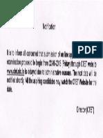 CTET Official Notice Regarding Application date