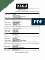 RAGA Schedule