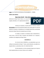 Pedido de revocatoria de procesamiento de Varisco