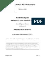 Bac Sti2d-Stl-spcl Maths Sujet