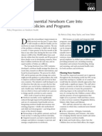 Integrating Essential Newborn Care into countries' policies and programs
