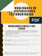 Las Modalidades de Las Disposiciones Testamentarias