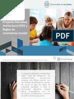 Proyecto Educativo Institucional (PEI) y Reglas de convivencia escolar