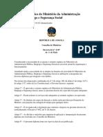 Angola Estatuto Orgânico Do Ministério Da Administração Pública Decreto-lei 8-07 2007