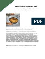 Manipulación de Alimentos y Cocina Solar