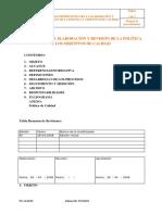 Proceso Para La Elaboración y Revisión de La Política y Los Objetivos de Calidad