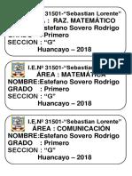 Etiquetas Sebastian Lorente 2018.