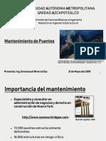 Consideraciones generales del mantenimiento de puentes en México.