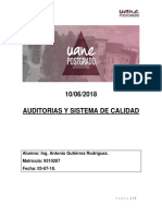 Auditorias y Sistema de Calidad 10 de Junio 2018