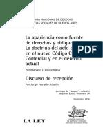 La Apariencia Como Fuente de Derechos y Obligaciones - Marcelo López Mesa