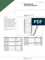 Westinghouse Lighting Price List Weatherproof Tank Type Ballasts 6-79