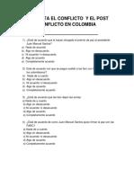 Encuesta El Conflicto y El Post Conflicto en Colombia