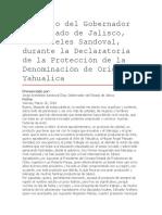 Discurso Del Gobernador Del Estado de Jalisco, Aristóteles Sandoval, Durante La Declaratoria de La Protección de La Denominación de Origen Yahualica.