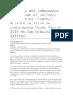 Discurso Del Gobernador Del Estado de Jalisco, Aristóteles Sandoval, Durante La Firma de Compromisos Vamos Juntos 2018 en San Gabriel, Jalisco.