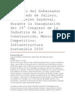 Discurso del Gobernador del Estado de Jalisco, Aristóteles Sandoval, durante la Inauguración del 29° Congreso de la Industria de la Construcción. México Competitivo Infraestructura Sostenible 2030