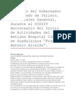 Discurso Del Gobernador Del Estado de Jalisco, Aristóteles Sandoval, Durante El CCXXIV Aniversario Del Inicio de Actividades Del Antiguo Hospital Civil
