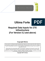 Ultima Forte Required Data Inputs for ZTE Infrastructure