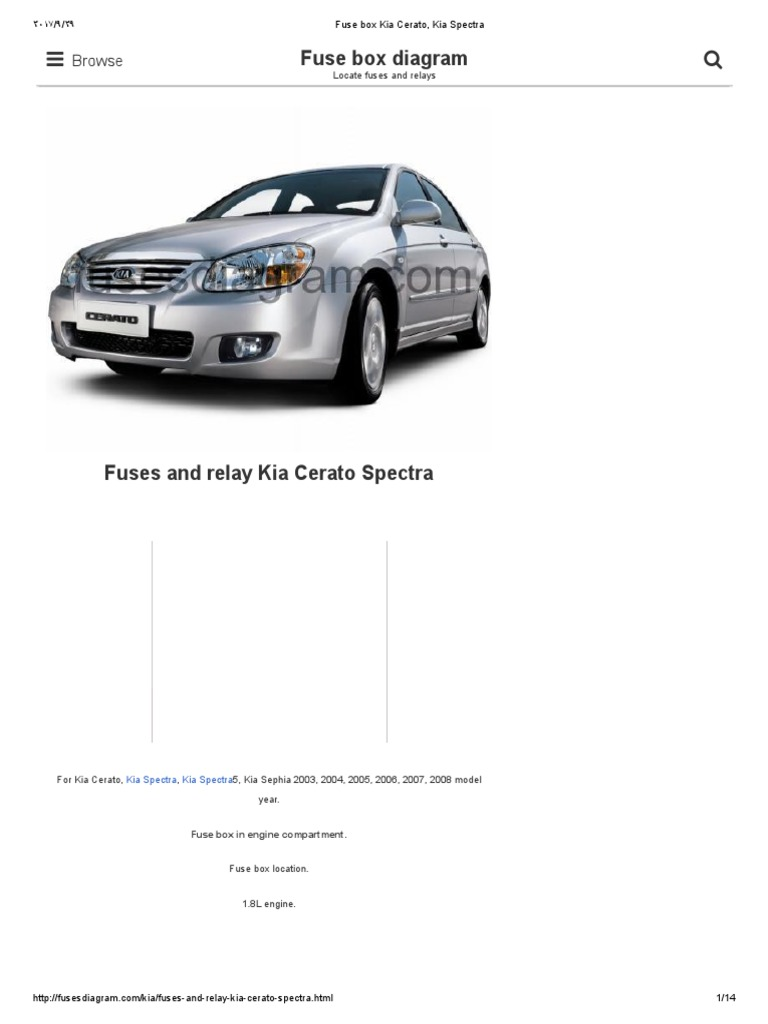 Kia Cerato Fuse Box Diagram K2700 2007