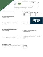 Examen Bimestral de Matematica 4
