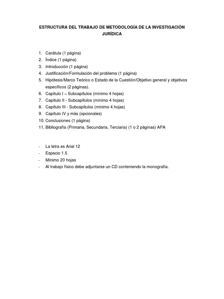 Estructura Del Trabajo De Metodología De La Investigación