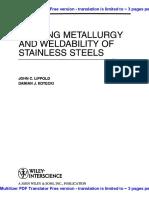 243223080 Welding Metallurgy and Weldability of Stainless Steels John c Lippold Damian j Kotecki PDF
