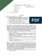 Atividade de Direito Civil VI - questões sobre direito de família