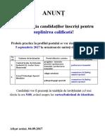 ANUNȚ Probe Practice 2017