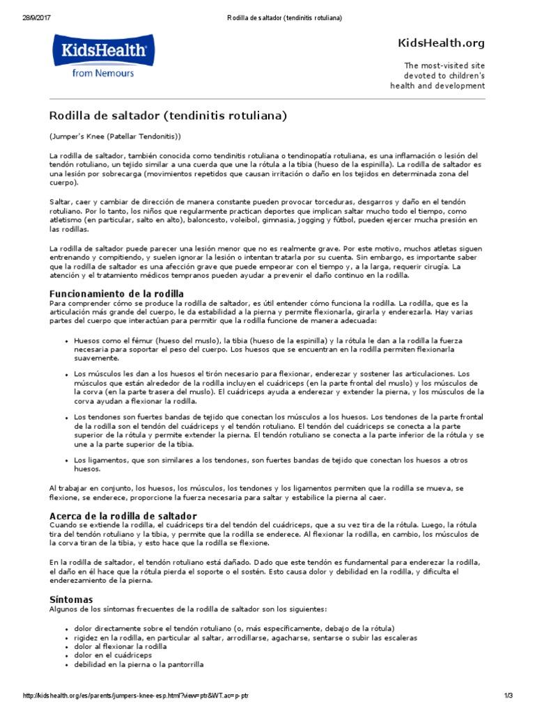 Rodilla de Saltador (Tendinitis Rotuliana)