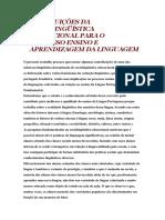 Contribuições Da Sociolingüística Educacional Para o Processo Ensino e Aprendizagem Da Linguagem