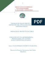 Creación de Microempresa Procesadora de Lácteos en El Cantón Pallatanga.